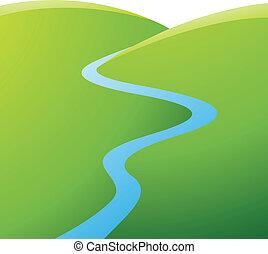 Colinas verdes y río azul