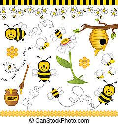 collage, abeja, digital