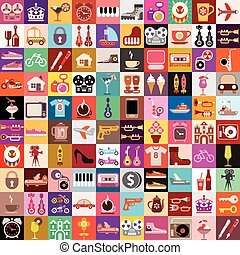 collage, aleatorio, objetos