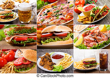 collage, alimento, rápido