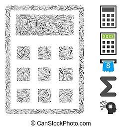 collage, arranque, calculadora, icono