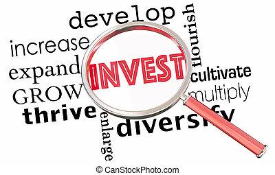 collage, aumentar, aumentar, invierta, vidrio, crecer, palabra, ilustración, 3d