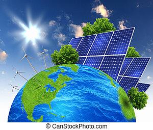 collage, baterías, solar
