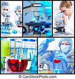 Collage científico de fondo.