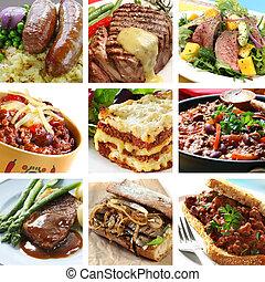 collage, comidas, carne de vaca