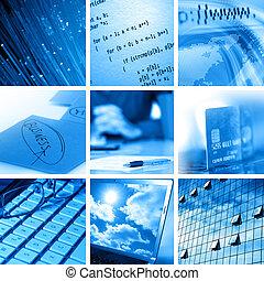 collage, computadora, empresa / negocio