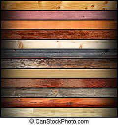 Collage con diferentes tablas de madera coloridas