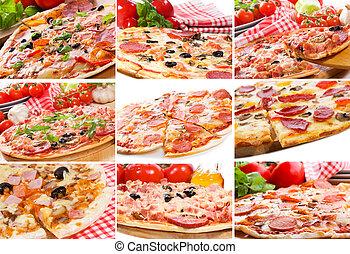 Collage con pizza