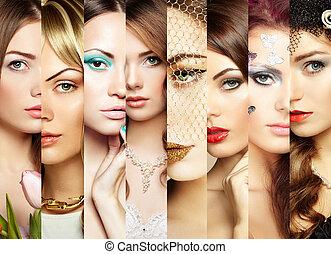 Collage de belleza. Caras de mujeres