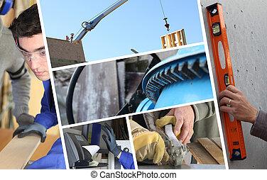 Collage de construcción con detalles de carpintería