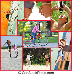 Collage de fotos de gente activa haciendo actividades deportivas