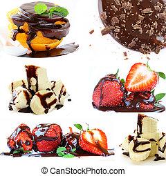 Collage de frutas y chocolate