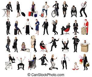 Collage de gente activa