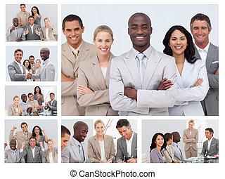 Collage de gente amigable de negocios