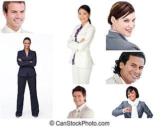 Collage de gente de negocios alegre