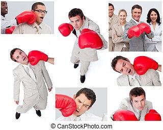 Collage de gente de negocios boxeando