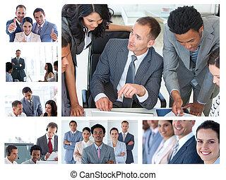 Collage de gente de negocios en el trabajo