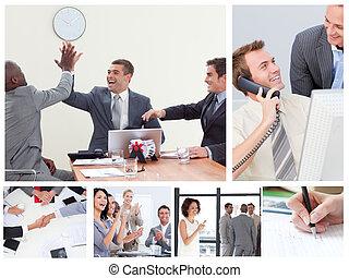 Collage de gente de negocios felices