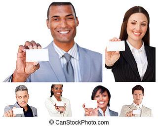 Collage de gente de negocios mostrando signos