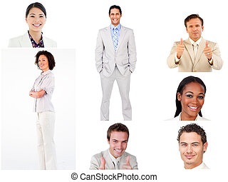 Collage de gente de negocios sonriente