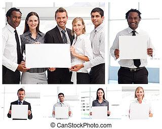 Collage de gente de negocios sosteniendo señales