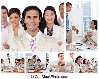 Collage de gente de negocios trabajando juntos