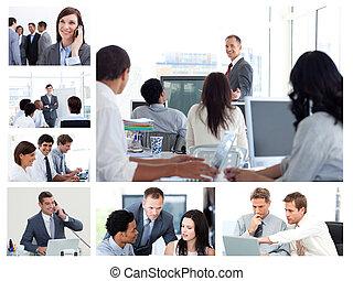 Collage de gente de negocios usando tecnología