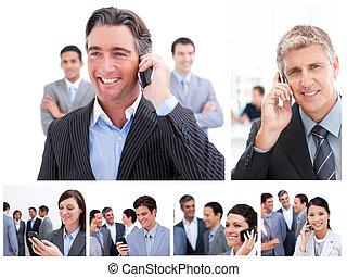 Collage de gente de negocios usando teléfonos móviles