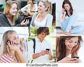 Collage de gente usando su Mobil