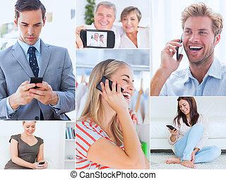 Collage de gente usando su teléfono