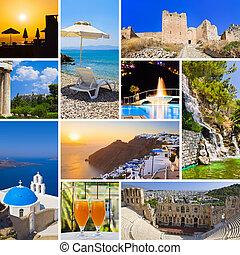 Collage de imágenes de viaje de Grecia