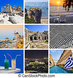 Collage de imágenes de viajes griegas