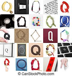 Collage de la letra Q