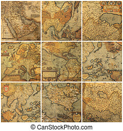 Collage de mapas antiguos