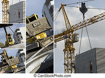 Collage de maquinaria de construcción