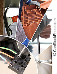 Collage de materiales de construcción