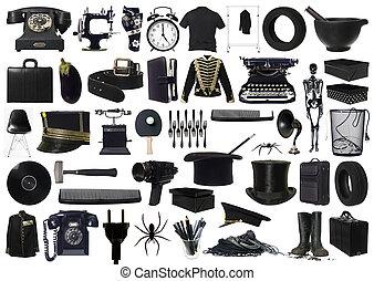 Collage de objetos negros