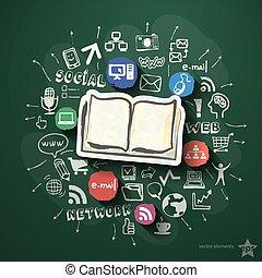 Collage de redes sociales con iconos en la pizarra