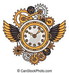 Collage de relojes Steampunk de engranajes de metal al estilo garabato