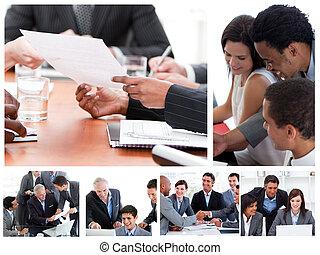 Collage de reuniones de negocios