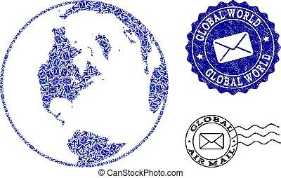 Collage de tráfico postal de mapas mosaicos del mundo global y sellos rayados