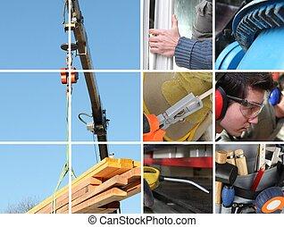 Collage de una construcción y materiales de construcción