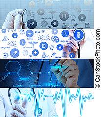 Collage de Vario moderno concepto de atención médica y helath