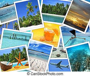 collage, destinaciones tropicales