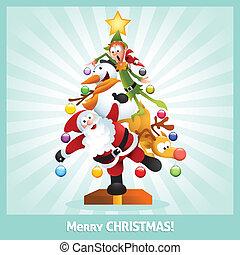 collage, divertido, tarjeta de navidad, caricatura