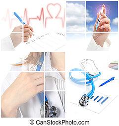 Collage. El concepto médico sobre el fondo blanco.