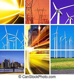 collage, energía eléctrica