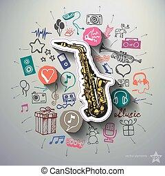 collage, entretenimiento, música, plano de fondo, iconos