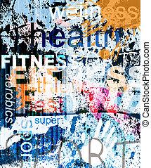 collage, fondo., palabra, grunge, fitness.