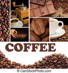 collage, fragante, café